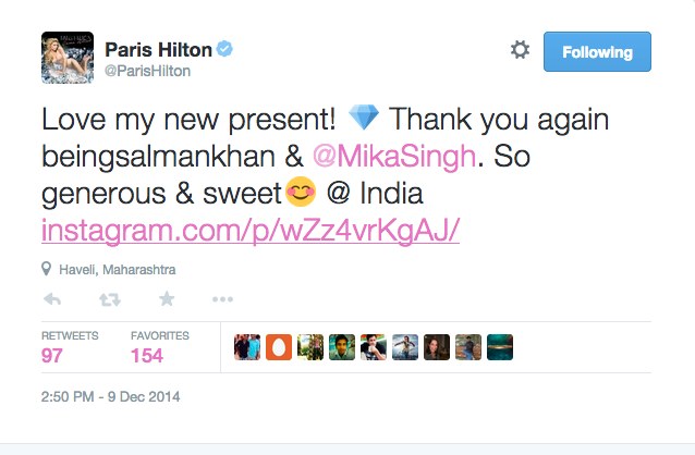 Paris Hilton's tweet