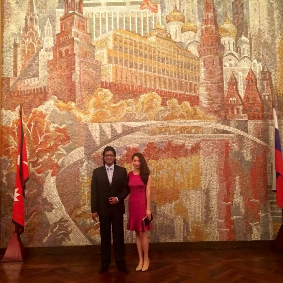 Rajesh Hamal and his wife at Russian embassy- thecinematimes.com